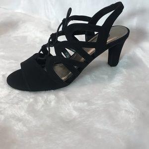 Amy black NWT strappy open toe heels SZ US 9